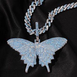 Blue Butterfly Cuban Necklace